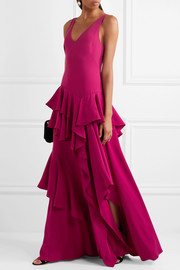 Tiered ruffled crepe maxi gown