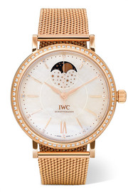 Portofino Automatic Moon Phase 37 18-karat red gold, mother-of-pearl and diamond watch