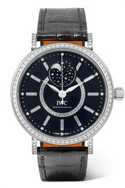 Portofino Automatic Moon Phase 37 alligator, 18-karat white gold and diamond watch