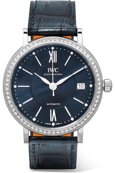 IWC SCHAFFHAUSEN - Portofino Automatic 37 Alligator, Stainless Steel And Diamond Watch - Silver