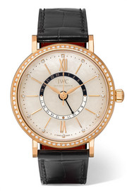 Portofino Automatic Day & Night 37 alligator, 18-karat red gold, mother-of-pearl and diamond watch