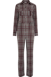 GANNI Charron checked cotton-blend seersucker jumpsuit