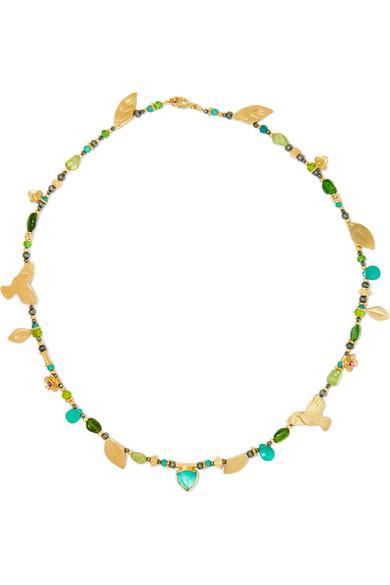 Katerina Makriyianni - Gold Vermeil Multi-stone Necklace - Green