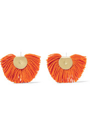 Fan gold-tone wool-blend earrings