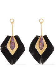 Fringed gold vermeil crystal earrings