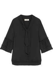 Desa pussy-bow ruffled washed-silk blouse