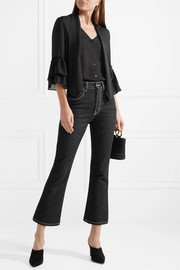 L'Agence Desa pussy-bow ruffled washed-silk blouse