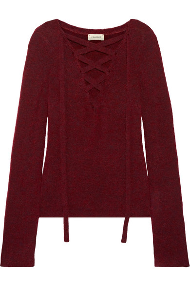 L'AGENCE Candela Lace-Up Knitted Sweater in Burgundy,Pink | ModeSens