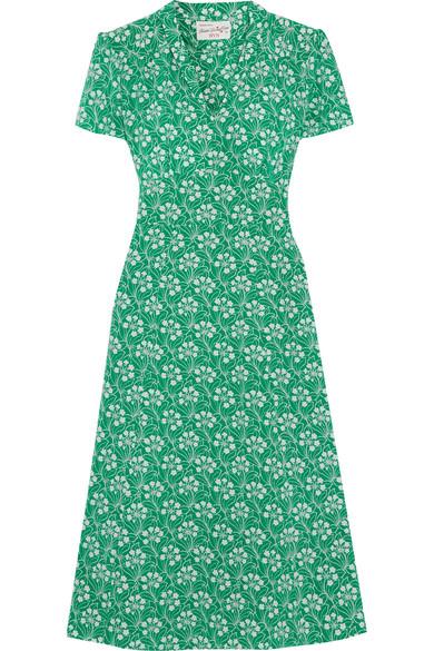 HVN - Morgan Floral-print Silk Crepe De Chine Dress - Green