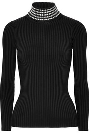 Alexander Wang Crystal-embellished ribbed stretch-knit turtleneck sweater