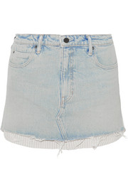 Alexander Wang Layered striped poplin and denim mini skirt