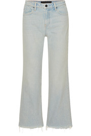 Alexander Wang Cropped frayed high-rise straight-leg jeans
