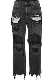 Alexander Wang Rival cropped distressed high-rise straight-leg jeans