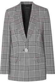 Alexander Wang Leather-trimmed checked crepe blazer