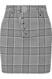 Studded checked woven mini skirt