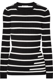 T by Alexander Wang Striped ribbed stretch-knit sweater