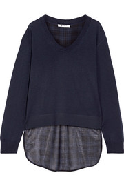 T by Alexander Wang Asymmetric plaid gauze and merino wool sweater