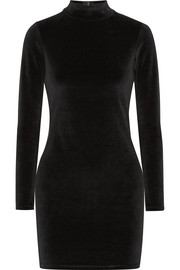 Cutout cotton-blend velvet turtleneck mini dress