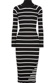 Striped ribbed stretch-knit turtleneck midi dress