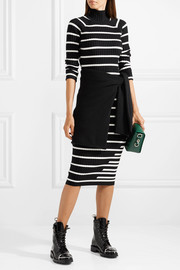 T by Alexander Wang Striped ribbed stretch-knit turtleneck midi dress