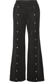 Coated French terry wide-leg pants