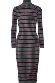 Striped ribbed stretch-knit midi dress