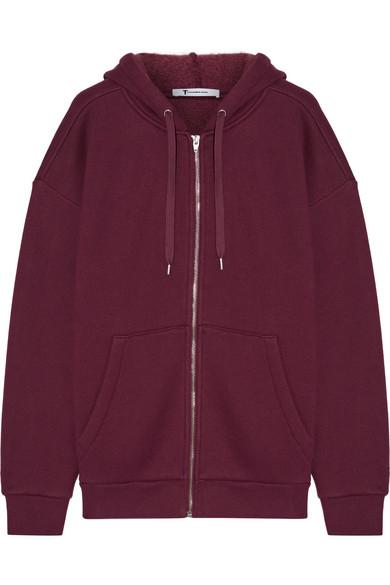 T by Alexander Wang - Dense Cotton-blend Fleece Hooded Sweater - Burgundy