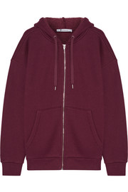 Dense cotton-blend fleece hooded sweater