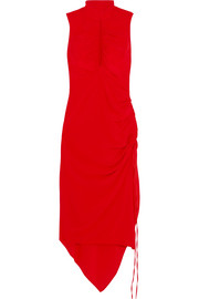 Palmira cutout ruched silk crepe de chine midi dress
