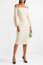 Lela Rose Off-the-shoulder wool-blend crepe dress