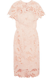 Ruffled guipure lace dress