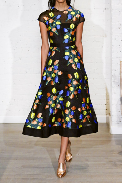Lela Rose Kleid aus floralem Jacquard