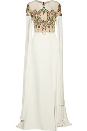Embellished tulle-paneled silk gown