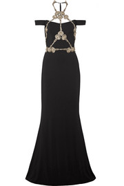 Cold-shoulder embellished silk-crepe gown