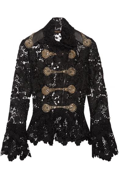 Reem Acra - Embellished Guipure Lace Peplum Jacket - Black