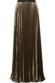 Sunburst pleated metallic silk-blend maxi skirt