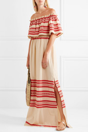 Celia Dragouni Off-the-shoulder embroidered cotton maxi dress