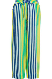 Striped linen-blend pants