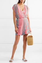 Diane von Furstenberg Striped linen-blend wrap dress