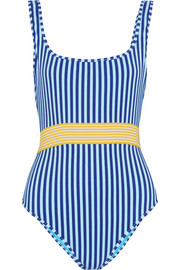 Belted striped swimsuit