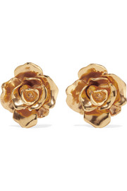 Oscar de la Renta Rosette gold-tone clip earrings