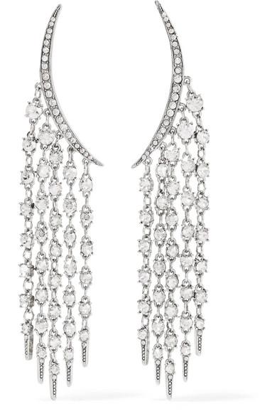 Oscar de la Renta - Tendril Silver-tone Crystal Earrings