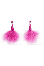 Feather, crystal and bead earrings