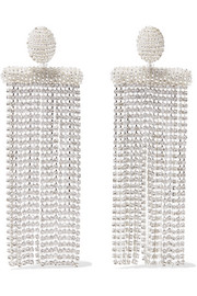 Oscar de la Renta Silver-tone, bead and crystal clip earrings