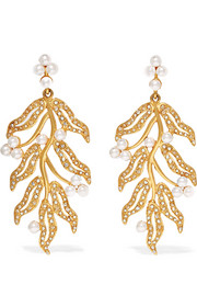 Oscar de la Renta Gold-plated, Swarovski crystal and faux pearl clip earrings