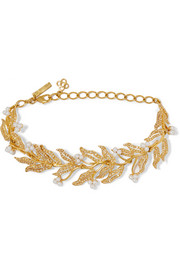 Oscar de la Renta Gold-plated, Swarovski crystal and faux pearl necklace