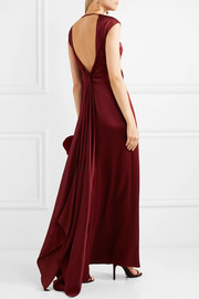 Draped backless satin gown
