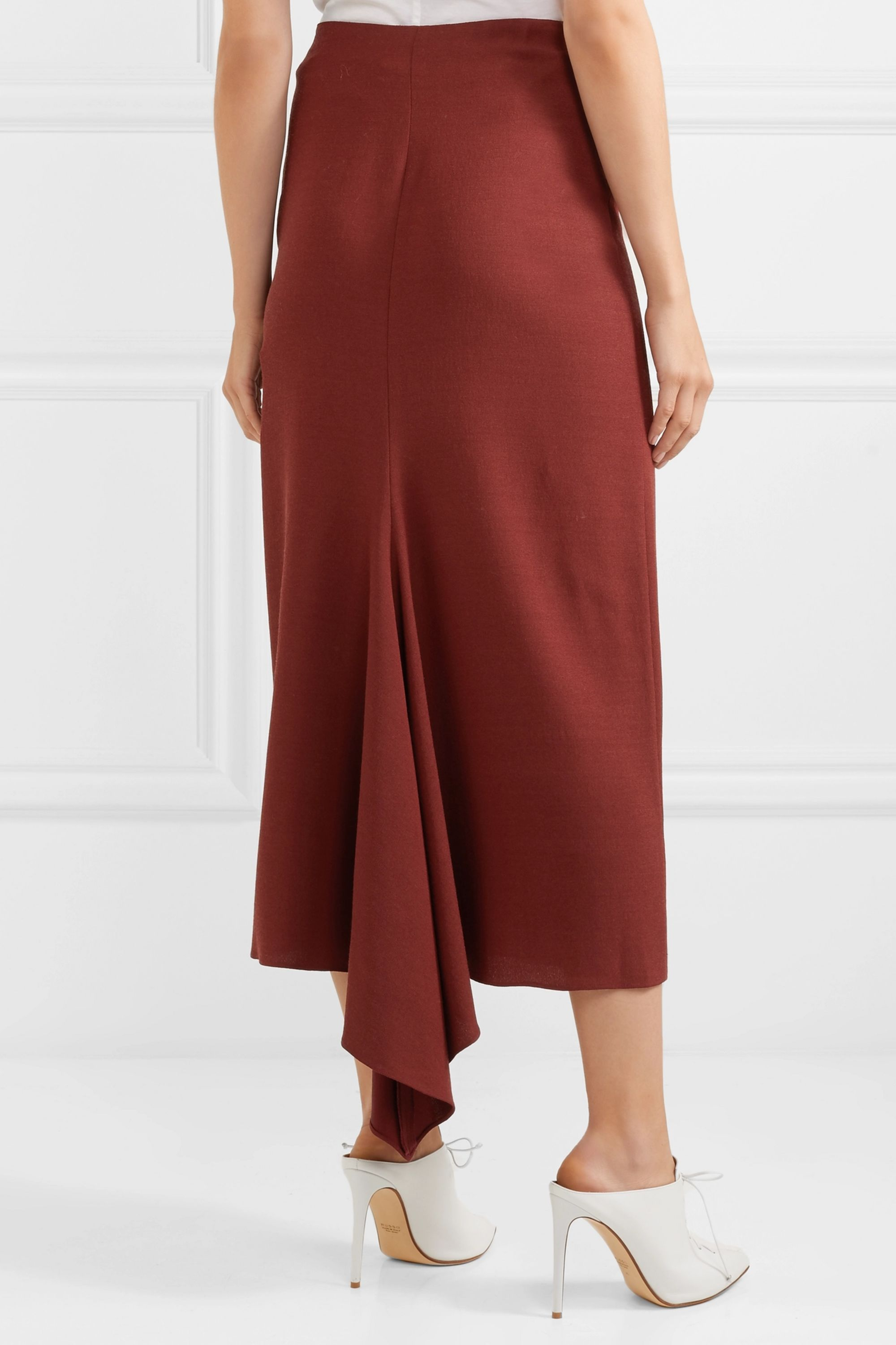 Rosetta Getty Asymmetric crepe midi skirt