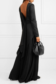 Draped satin-crepe top
