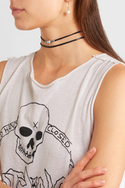Chan Luu Leather, silver-tone and pearl choker